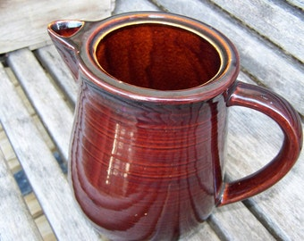 Redwing Pitcher Brown Pottery Pitcher Farmhouse Pitcher