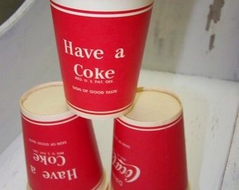 Coca Cola Wax Paper Cups Six Red Paper Cups Coca Cola Collectible Coke Cups
