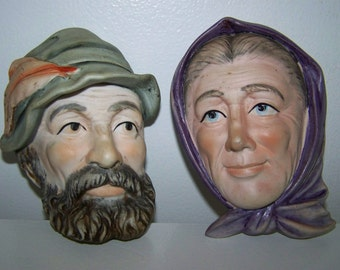 Face Plaques Lefton China Faces Old Man Woman Wall Hanging Lefton Faces