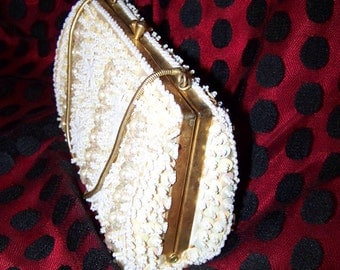 White Purse Vintage Beaded Purse White Beaded Purse