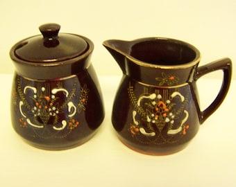 Brown Sugar Creamer Vintage Sugar Creamer Dark Brown Japanese Pottery