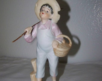 Boy Going Fishing Figurine Japan Fishing Boy Figurine UCAGO Figurine
