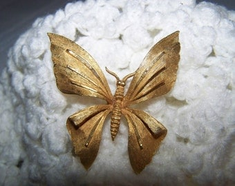 Gold Butterfly Brooch B.S.K. Butterfly Brooch Vintage Gold Pin