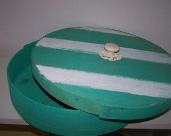 Upcycled Beach Box Teal Stripe Wood Box Upcycled Cheese Box