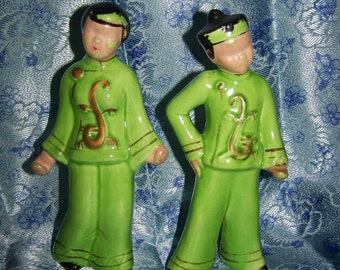 Oriental Figurines Lime Green Shabby Figurines Asian Boy & Girl Asian Figurines