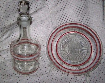 Glass Decanter Vintage Red Striped Decanter Bar Set Red Stripes Decanter &Tray