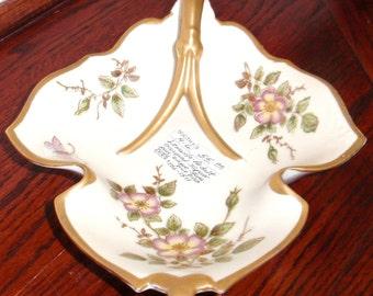 """LENWILE ARDALT 8"""" manche plat de bonbons noix bol occupé peint porcelaine numérotée à la main au Japon biscuit Excellent État"""