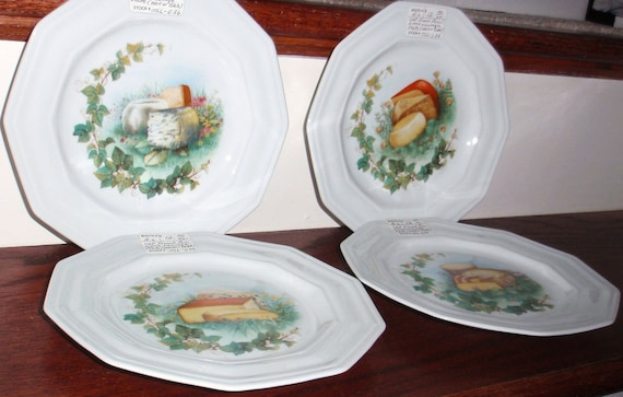 """Vintage CNP France Lierre Lauvage French Porcelain Limoges Plates Cheese Ivy 8"""" Companie Nationale Porcelaine for Use or Wall Decor"""
