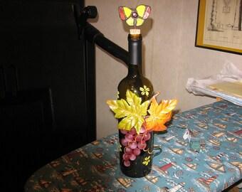 ligheted wine bottle