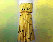 1980S Yellow graffiti print strapless sun dress Size 6-8