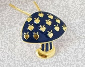 Vintage Gold and Navy Enameled Mushroom 1970s