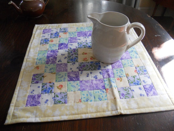 Yellow Quilted Square Table Topper