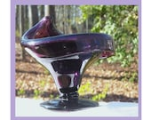 SALE - Purple Art Glass, Free Form Compote