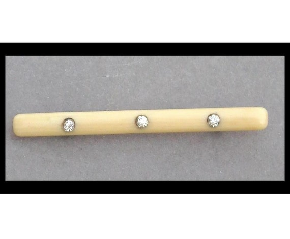 Victorian Celluloid and Rhinestone Bar Pin