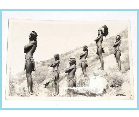 ca1940 Native American Braves, Real Photo Postcard, RPPC