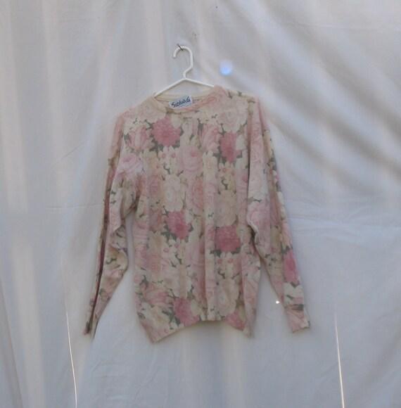 Vintage Angora Blend Oversized Floral Granny Graphic Sweater Pastel Grunge 80s 90s