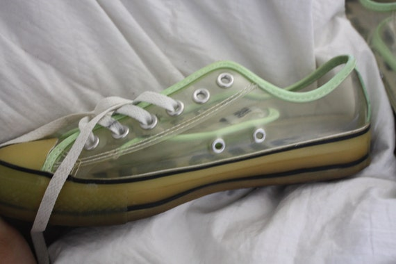 SALE Vintage RARE Clear Glow In The Dark See Through CONVERSE all stars chuck sneakers avant grade rave punk slime psychedelic 90s 7 9