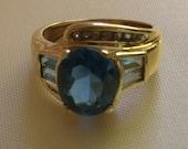 195 D SALE! 14k London Blue Topaz and Diamond Ring FREE SHIPPING