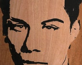 John Fahey. American guitarist and composer. Silk Screen on wood.  Art by Mary Nicholson.