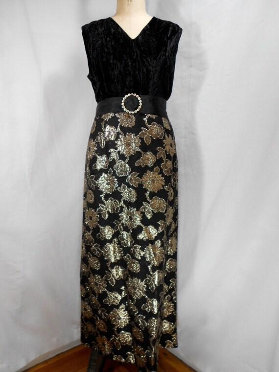 1960s Velvet Lurex Floral Evening Gown Size Large