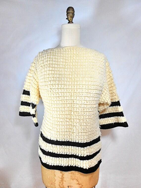 1960s Black & Ivory Loop Knit Sweater by Jantzen Size 8