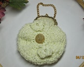 Crochet Purse, Wedding Purse or Evening Bag White Chenille