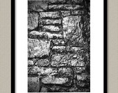 Waterfall Stones 4X6 Fine Art Photography Print - Black and White B&W Silver Grey Gray Office Wall Art Home Decor Print