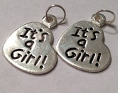 "It's a Girl Charms (20 pc silver finish with jump ring) 3/4"" Invitation Tie On Gift Baby Shower Favors"