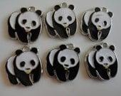 "RESERVED FOR CRYSTALCOMPESE 120 Panda Bear Charm Pendant  1"" Black and White Enamel"
