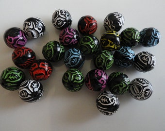 Tribal Style Beads Colorful Assortment (100) Acrylic 1/2 inch
