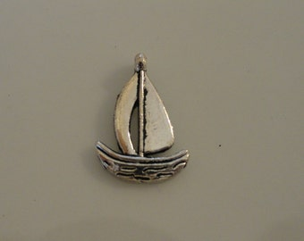 Sail Boat Charm (24) Antique Silver Finish Tibetan Style 1/2 Inch
