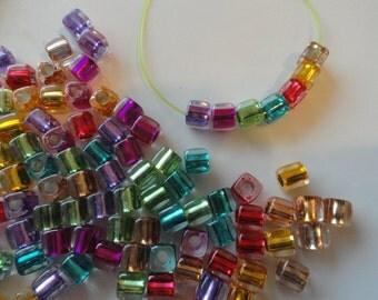 "250 Cube Beads Acrylic Assorted Jewel Tone Colors 1/4"""