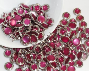 12 Snaps Pearl Set Raspberry Pink 4 Part Prong Size 16