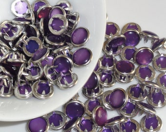 25 Pearl Snaps Set  Purple 4 Part Prong Size 16
