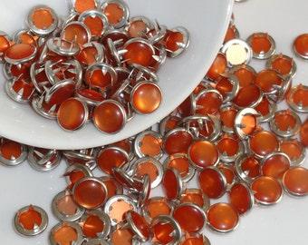 25 Snaps Pearl 4 Part Prong Size 16 Tangerine Orange