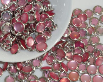 12 Snaps Pearl Light Pink Set  4 Part Prong Size 16