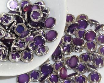 12 Snaps Pearl Purple Set  4 Part Prong Size 16
