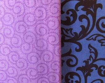 Fabric Destash Assorted Fat Quarters 2 Pack Royal Blue Purple