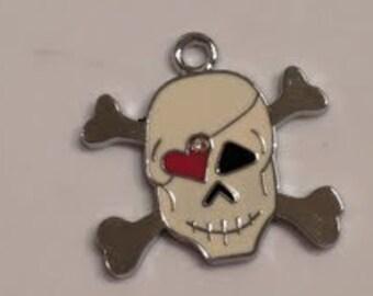 "CLEARANCE Skull Cross Bones Charm Pendant  (12)  Silver Color 1 1/4"" Enamel"
