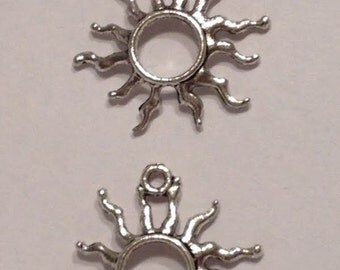 Sun Pendant Earring Necklace Charms (12) Tibetan Silver Style 1 Inch