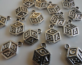 """25 Antique Silver Metal ABC Blocks Charms - 1/2"""" Baby Shower Party Gift Embellishment"""