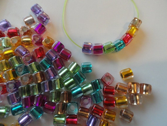 100 Cube Beads Multicolored Acrylic 1/4 inch DIY Jewelry