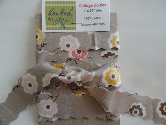SALE Cottage Daisy Floral Fabric Strip 100% Cotton Upcycled 1 inch  x  6 1/2 feet  Gift Wrapping Scrapbooking Bows