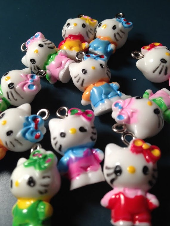 24 Colorful Assortment Hello Kitty Cat Charms Resin
