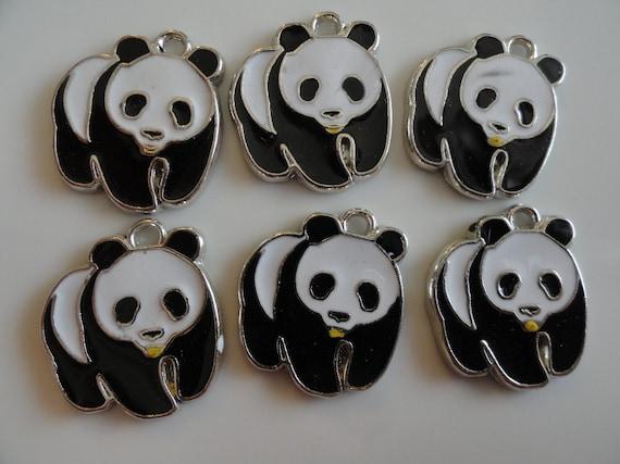 "12 Panda Bear Charm Pendant  1"" Black and White Enamel"