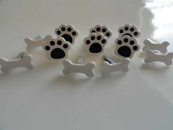 Dog Lovers Scrapbooking Brads (12) Puppy Paws and Bones