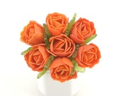 Vintage Rose Brooch, Plastic Flower Jewelry, Orange Flower Brooch, Tropicana Roses Bouquet, C Clasp, Vintage Plastic Jewelry