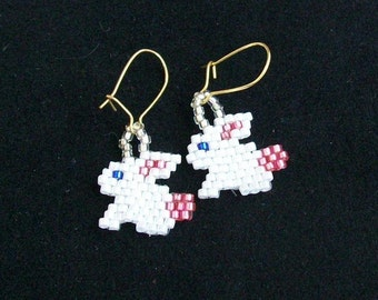 Beaded Easter Bunnies Earrings