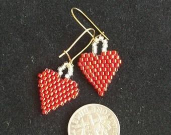Beaded Valentine's Day Heart Earrings