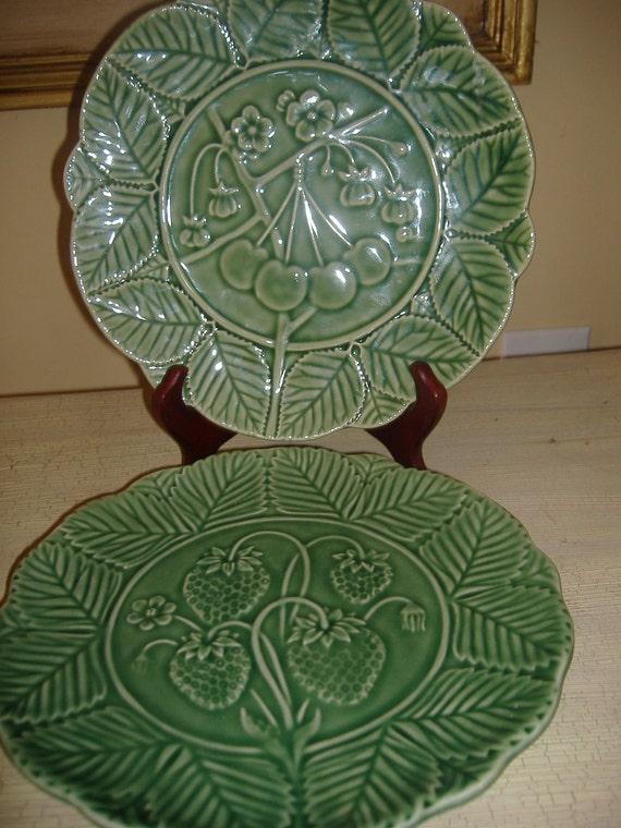 Portugal Green Glaze Fruit Plate Set of 2 Majolica Style
